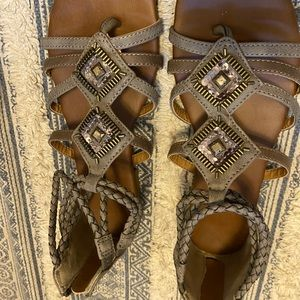Braided beaded sandals